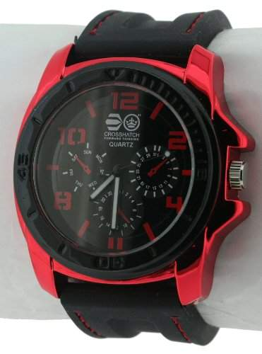 CROSSHATCH Herren-Armbanduhr Analog Silikon Schwarz CRS31B
