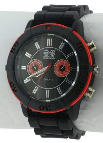 CROSSHATCH Herren-Armbanduhr Analog Silikon Schwarz CRS34A
