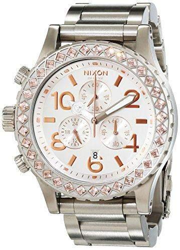 Nixon Damen-Armbanduhr 42-20 Silver  Light Gold Crystal Analog Quarz Edelstahl A0371519-00