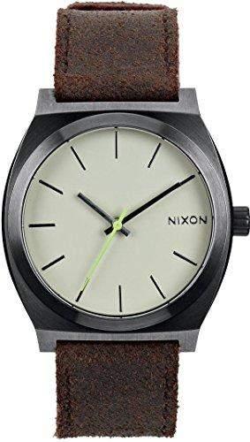 Nixon Unisex-Armbanduhr The Time Teller Gunmetal  Brown Analog Quarz Leder A0451388-00