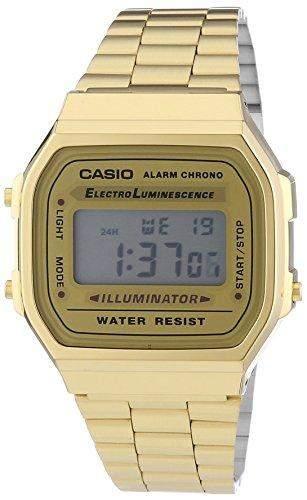 Casio Unisex Armbanduhr Collection Digital Quarz Gold Edelstahl A168Wg-9Ef