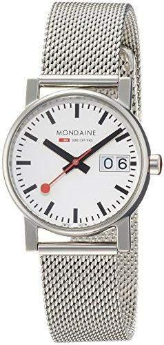 Mondaine A6693030511SBM Big-Date Damenuhr 30mm mit Metallband