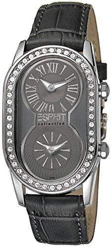 Esprit Collection Damen-Armbanduhr Athena Grey Analog Quarz Leder EL101192F03