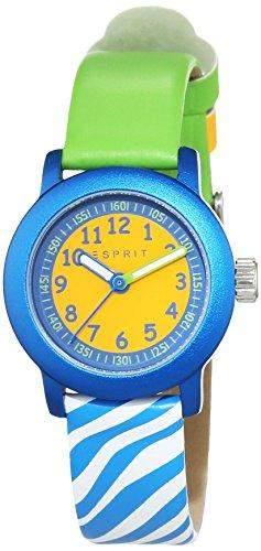 Esprit Unisex-Armbanduhr Cutie Face Green Analog Quarz Leder ES106414032
