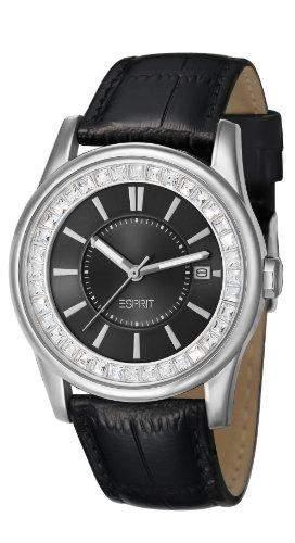 Esprit Damen-Armbanduhr Starlite Silver Analog Leder Schwarz ES105452002