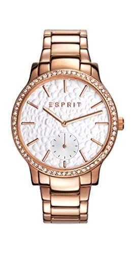 Esprit Jamie Women- Armbanduhr Analog Quarz silber Zifferblatt und vergoldetem Edelstahl-Armband ES108112005