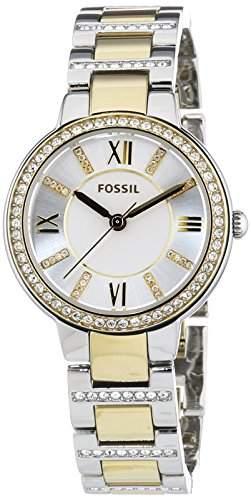 Fossil Damen-Armbanduhr XS Virginia Analog Quarz Edelstahl ES3503
