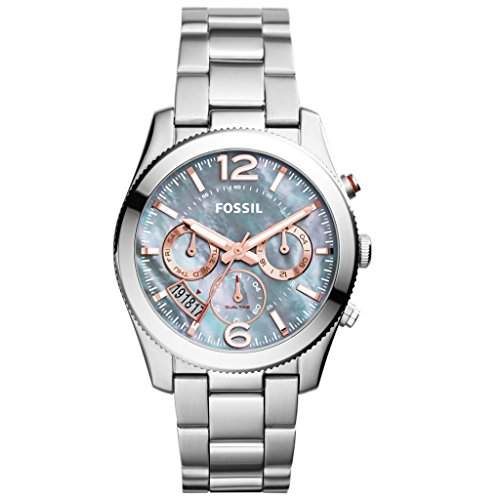 Fossil ES3880 PERFECT BOYFRIEND Uhr Damenuhr Edelstahl 50m Analog Datum perlmutt
