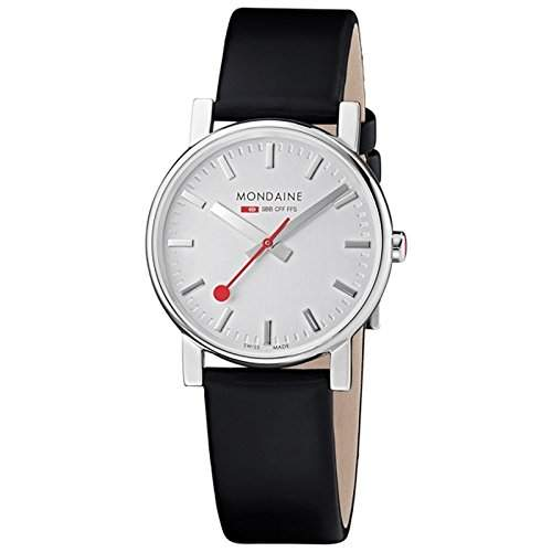 Mondaine Damen-Armbanduhr EVO SILVER BLACK STRAP Analog Quarz Leder A6583030018SBB