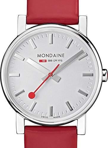 Mondaine Damen-Armbanduhr EVO SILVER RED STRAP Analog Quarz Leder A6583030018SBC