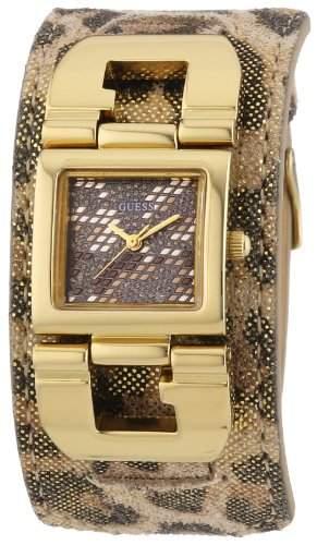Guess Damen-Armbanduhr XS Analog Quarz Leder W0054L2