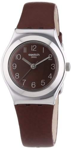 Swatch Damen-Armbanduhr XS Irony Terra Rossa Analog Quarz Leder YSS270