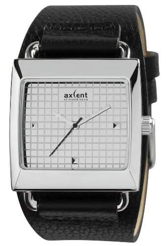 Axcent of Scandinavia-IX80202-647-Loud Damen-Armbanduhr 045J699Analog silber-Armband Leder Schwarz