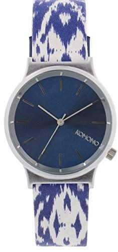 Komono Unisex Quarzuhr mit Blau Zifferblatt Analog Display Armbanduhr Quarzuhrwerk und Blau Lederband kom-w1835