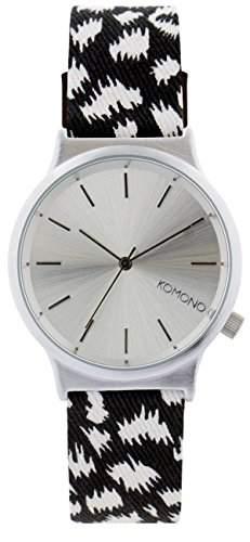 Komono Unisex Quarzuhr Armbanduhr Quarzuhrwerk mit Silber Zifferblatt Analog-Anzeige und-Lederband kom-w1836