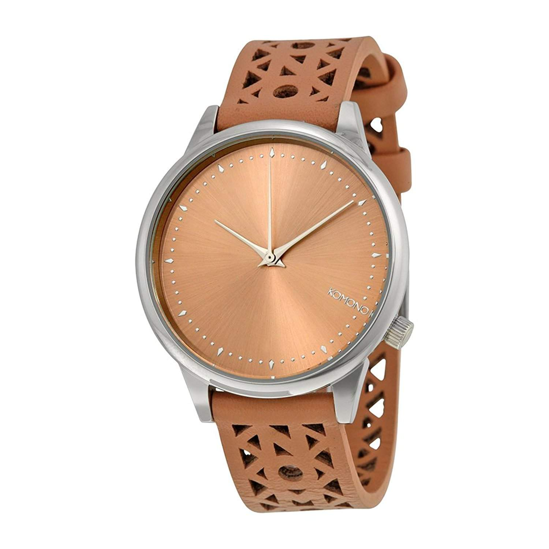 Komono Damen Quarzuhr mit beigem Zifferblatt Analog Display Armbanduhr Quarzuhrwerk und Beige Lederband kom-w2650