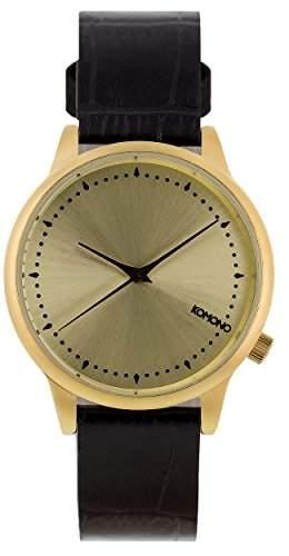 Komono Damen Quarzuhr Armbanduhr Quarzuhrwerk mit Gold Zifferblatt Analog-Anzeige und schwarz Lederband kom-w2702