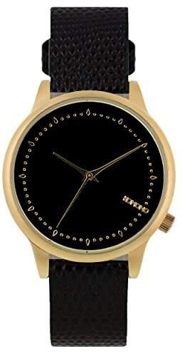 Komono Damen Quarzuhr mit schwarzem Zifferblatt Armbanduhr Quarzuhrwerk Analog Lederband Schwarz kom-w2703