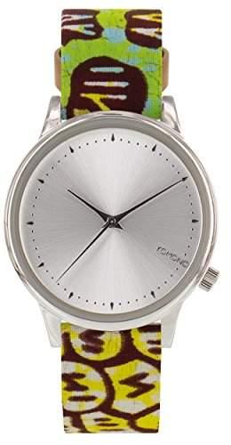 Komono Damen Quarzuhr Armbanduhr Quarzuhrwerk mit Silber Zifferblatt Analog-Anzeige und-Lederband kom-w2850