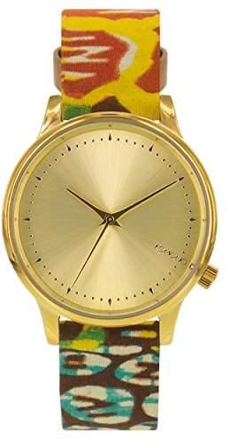 Komono Damen Quarzuhr Armbanduhr Quarzuhrwerk mit Gold Zifferblatt Analog-Anzeige und-Lederband kom-w2851
