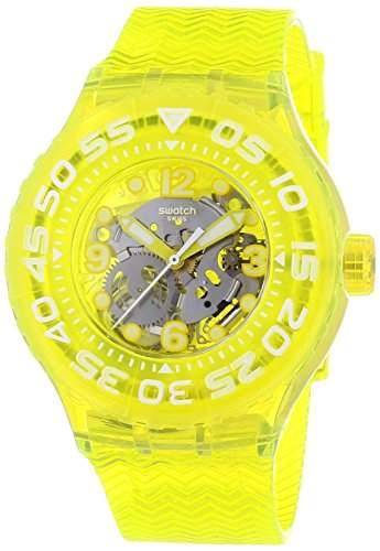 Swatch Unisex-Armbanduhr Lemon Profond Analog Quarz Plastik SUUJ101