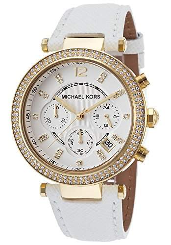 Michael Kors MK2290 Gold mit weissem Lederband