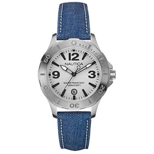 Nautica Damen Blau Stoff Armband Edelstahl Gehaeuse Mineral Glas Uhr NAI11504M