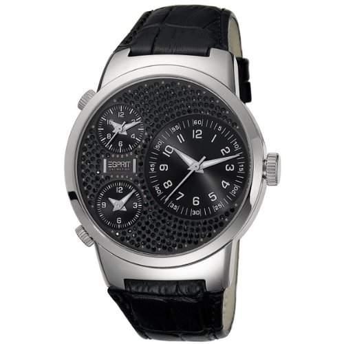 Esprit Damen-Armbanduhr XL Polydora midnight Analog Quarz Leder EL101292F01