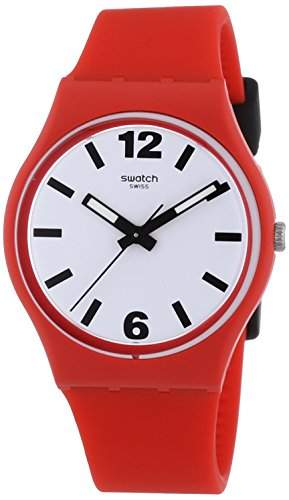 Swatch Damen-Armbanduhr XS Red Pass Analog Quarz Plastik GR162