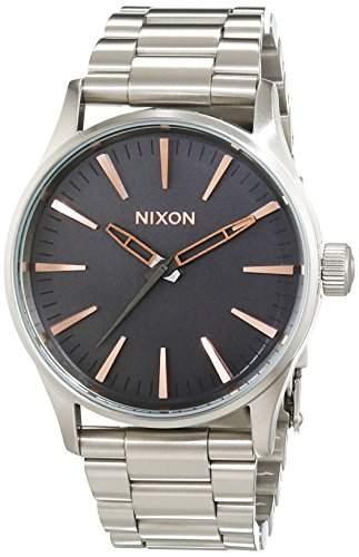 Nixon Damen-Armbanduhr Sentry 38 SS Gray  Rose Gold Analog Quarz Edelstahl A4502064-00