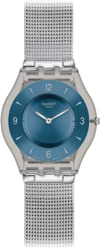 Swatch Damen-Armbanduhr XS Skin Classic Analog Edelstahl Metal Knit Blue SFM120M