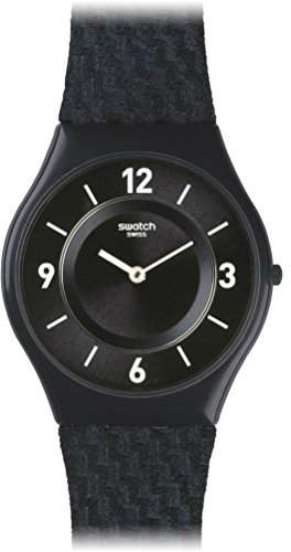 Swatch Damen-Armbanduhr Analog Quarz Leder SFN123