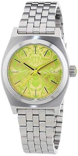 Nixon Damen-Armbanduhr XS Small Time Teller Silver Newon Yellow Analog Quarz Edelstahl A3991898-00
