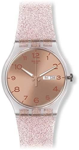 Swatch Damen-Armbanduhr Analog Quarz Silikon SUOK703