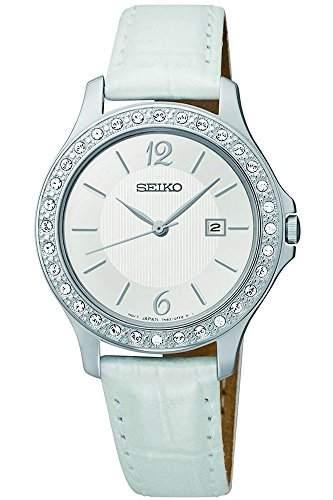Seiko-sxdf83p1Damen-Armbanduhr 045J699Analog silber-Armband Leder Weiss