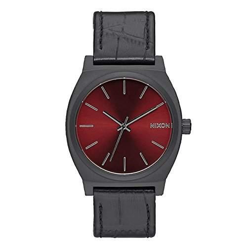 Nixon Unisex-Armbanduhr Time Teller Gator Analog Quarz schwarz Leder A0451886-00