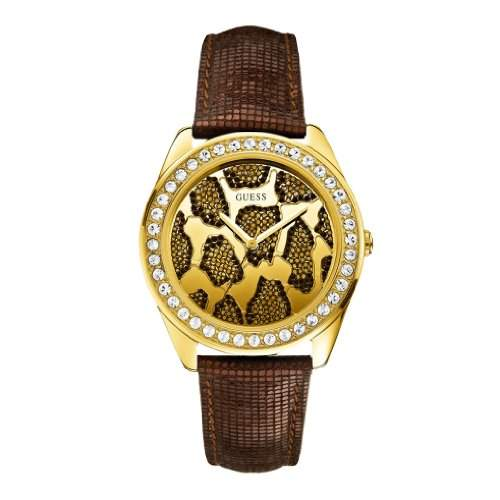 GUESS Damen-Armbanduhr 3D Animal Analog Quarz Leder W0056L2
