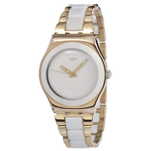 Swatch Damen-Armbanduhr XS Irony Medium Analog verschiedene Materialien Rose Pearl YLG121G