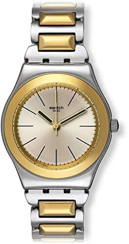 Swatch Damen-Armbanduhr Analog Quarz Edelstahl YLS181G
