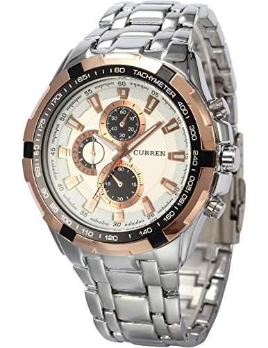 AMPM24 goldene Ring Herren Uhr weiss Quarzuhr Edelstahl silber Armbanduhr