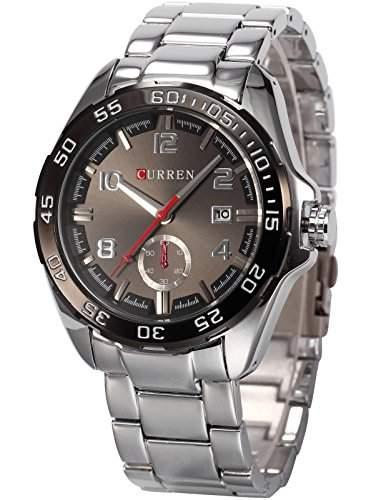 AMPM24 CURREN schwarz Analog Herren Uhr Datums Quarzuhr Edelstahl silber Armbanduhr