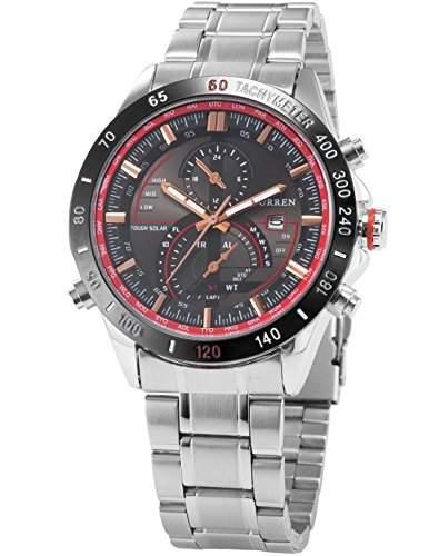 AMPM24 CURREN Analog Rot Herren Uhr Quarzuhr Datums Armbanduhr Edelstahl CUR041