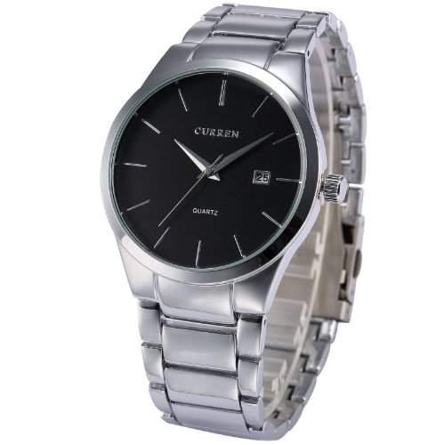 AMPM24 Analog Herren Armbanduhr Quarzuhr mit Silber Armband aus Metall Datumanzeige CUR050