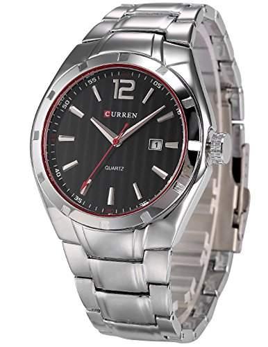AMPM24 Herren Armbanduhr Quarzuhr mit Silber Armband aus Metall Datumanzeige CUR064