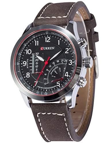 AMPM24 Herren Armbanduhr Quarzuhr Analog Anzeige Dunkel Braune Leder Armband Sportuhr CUR095