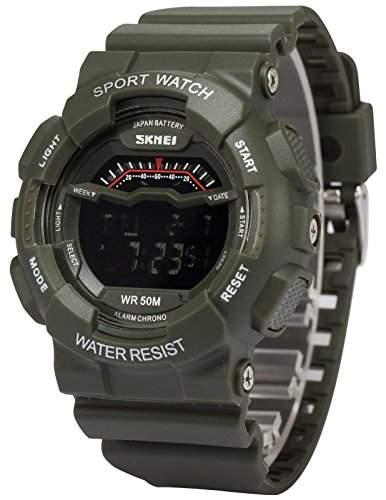 AMPM24 Herren Quarzuhr Digital Hintergrundbeleuchtung Silikon Sport Armbanduhr LED161