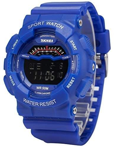 AMPM24 Herren Quarzuhr Digital Hintergrundbeleuchtung Silikon Sport Armbanduhr LED162