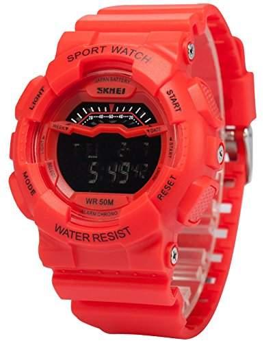 AMPM24 Herren Quarzuhr Digital Hintergrundbeleuchtung Silikon Sport Armbanduhr LED163