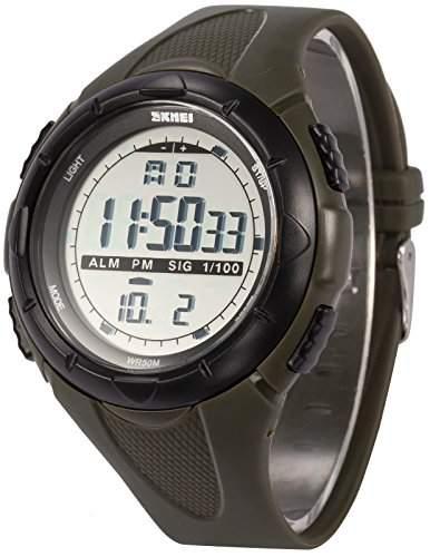 AMPM24 Herren Quarzuhr Chronograph Sport Digital Silikon Armband Datunanzeige LED167