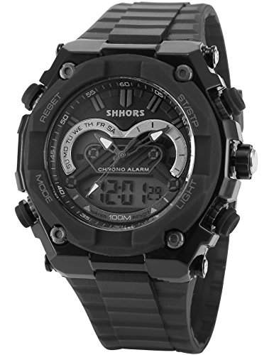 AMPM24 Herren Armbanduhr Quarzwerk Analog Digital Silikon Armband Datumanzeige LED176